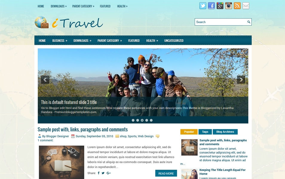 iTravel Responsive Blogger Template