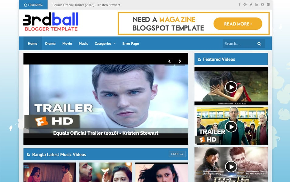 3rdball Responsive Video Blogger Template