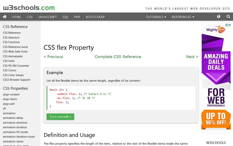 CSS flex Property