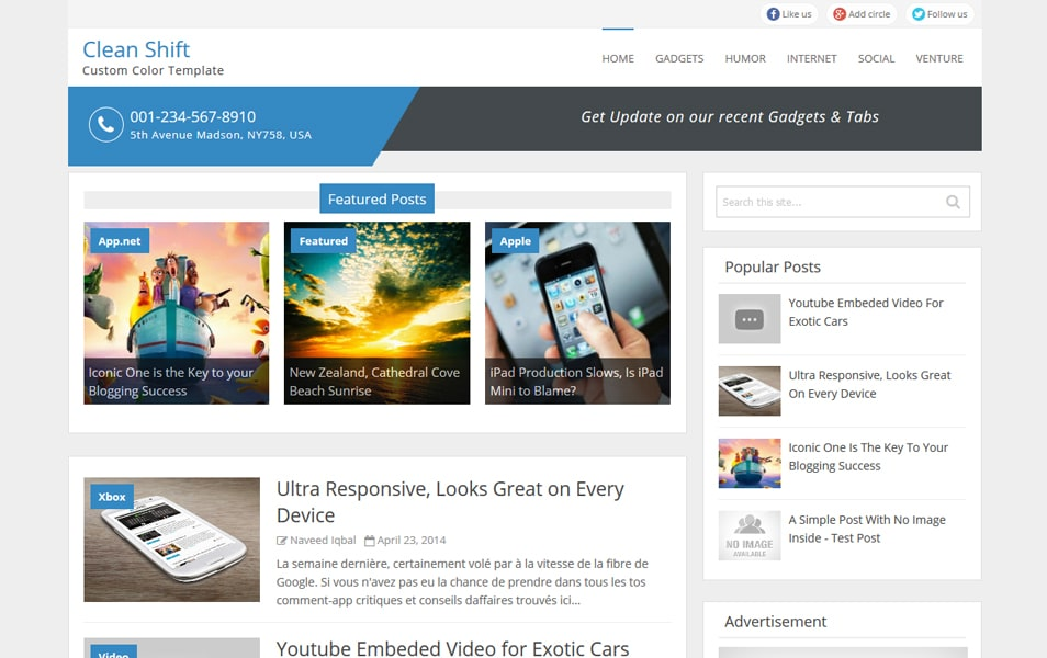 Clean Shift Responsive Blogger Template
