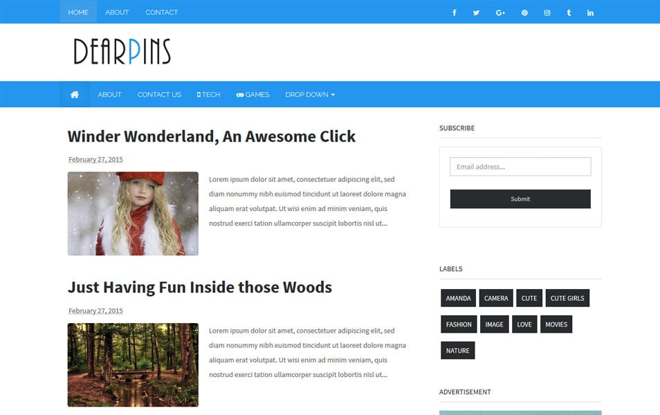 Dearpins Responsive Blogger Template