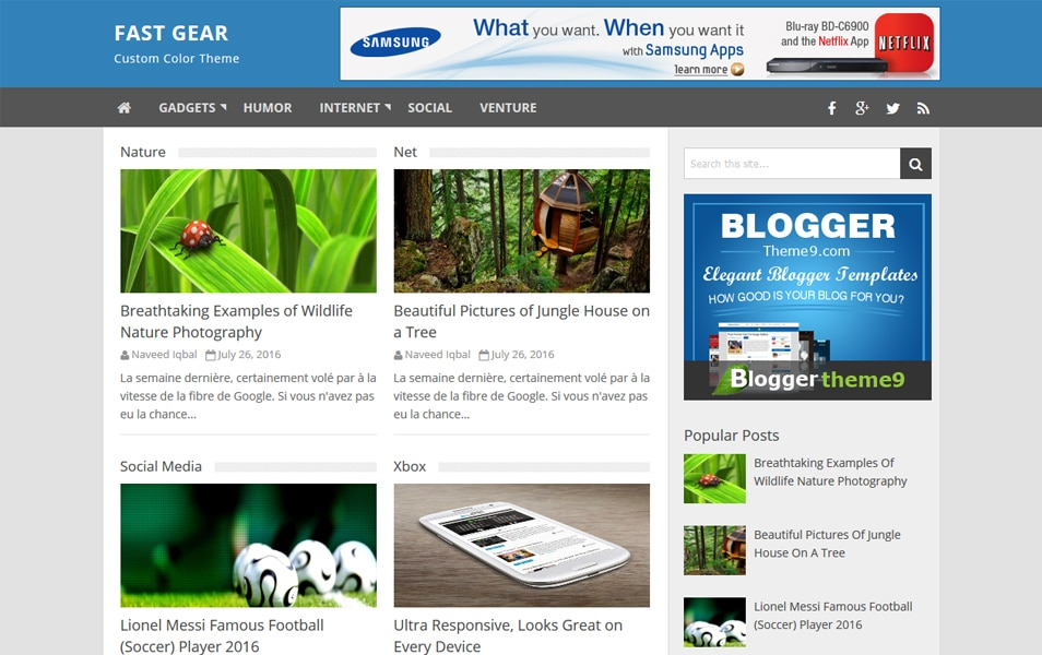 Fast Gear Responsive Blogger Template