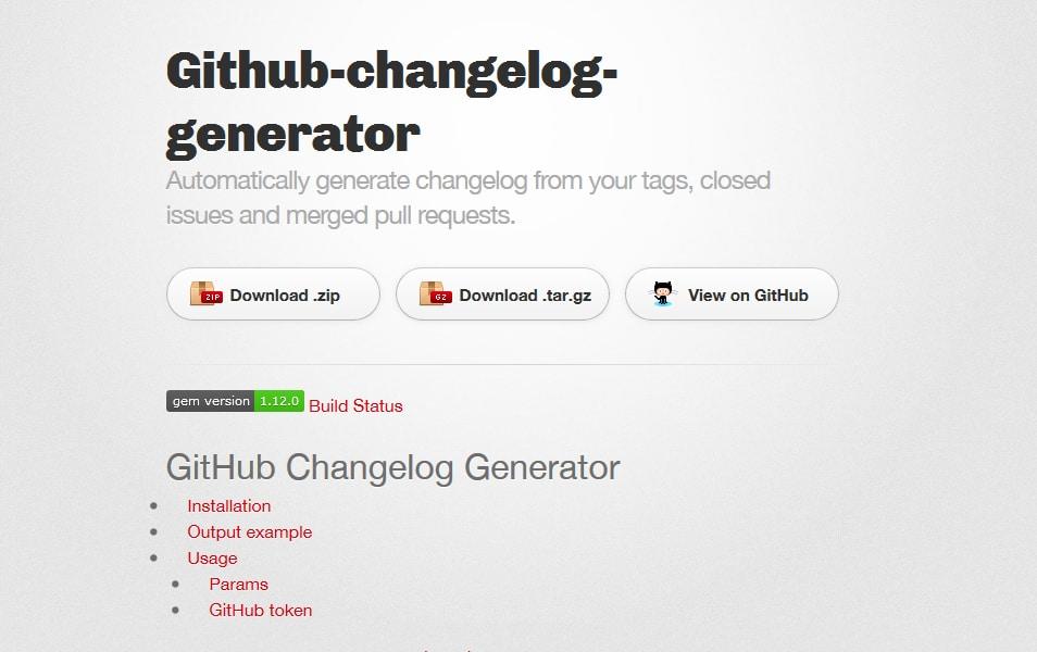 GitHub Changelog Generator