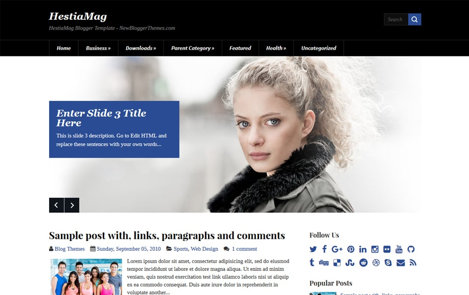 HestiaMag Responsive Blogger Template