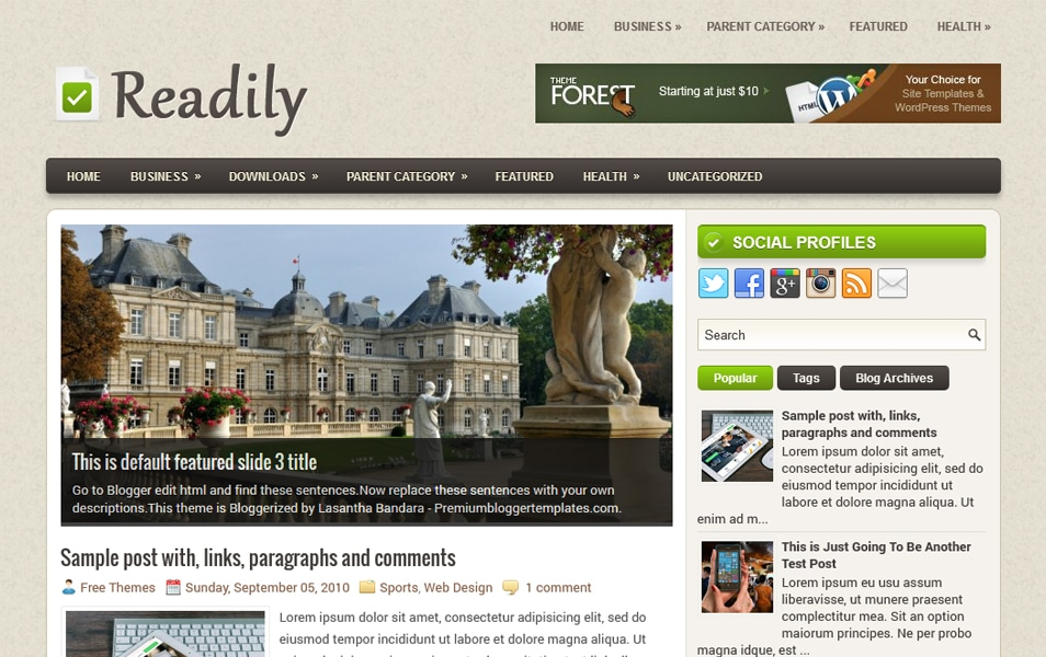 Readily Responsive Blogger Template