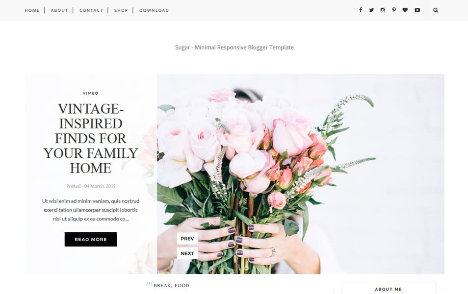 Sugar Responsive Blogger Template