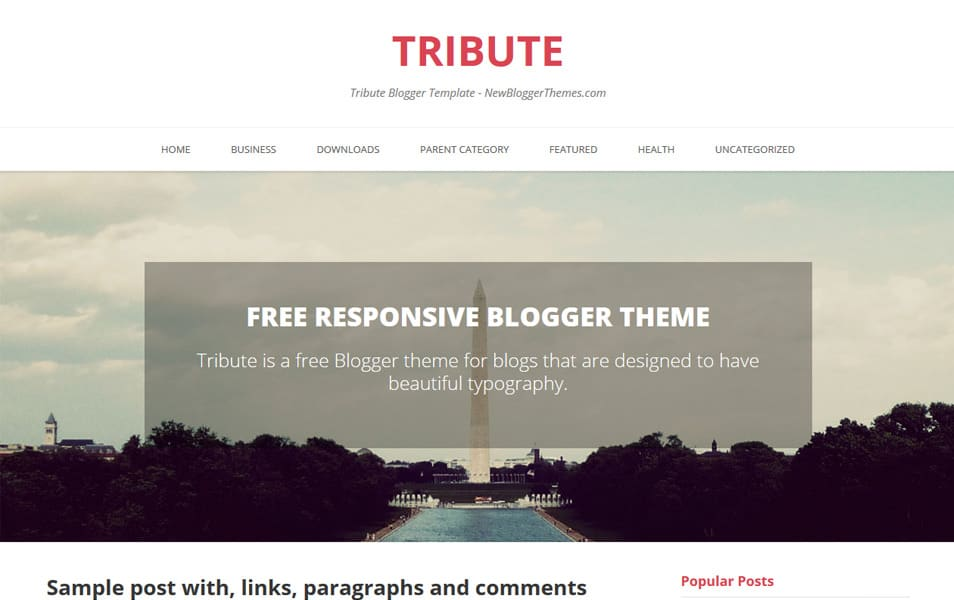 Tribute Responsive Blogger Template