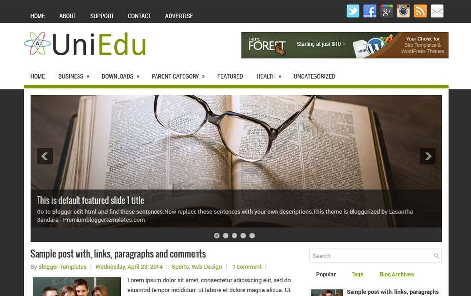 UniEdu Responsive Blogger Template