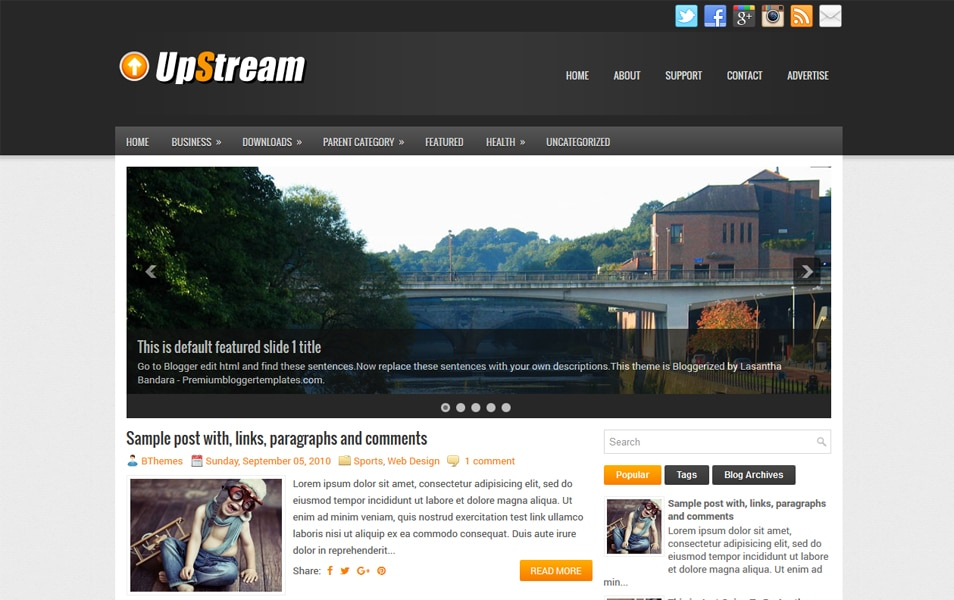 UpStream Responsive Blogger Template