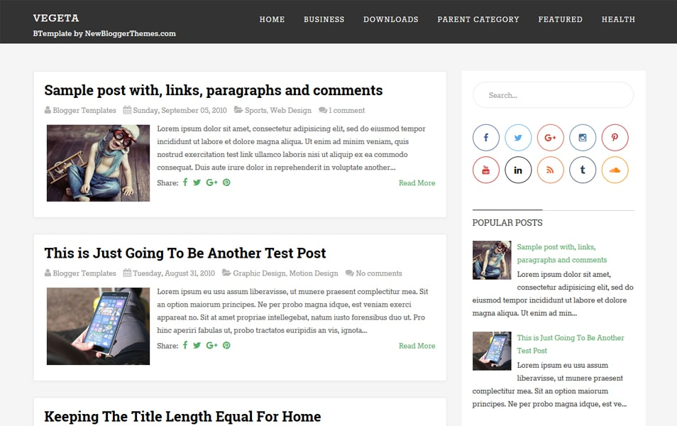 Vegeta Responsive Blogger Template
