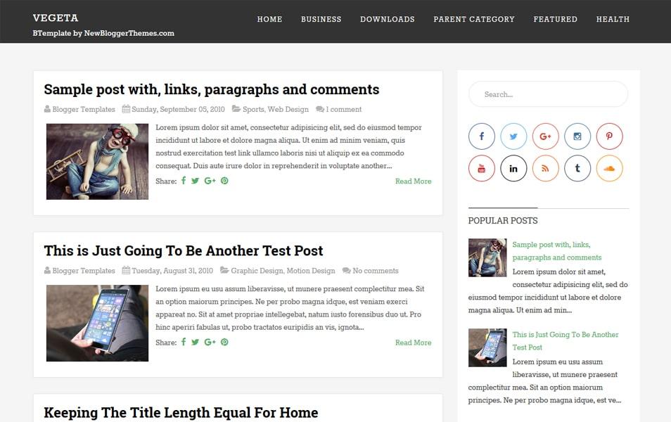 Vegeta Responsive Blogger Template
