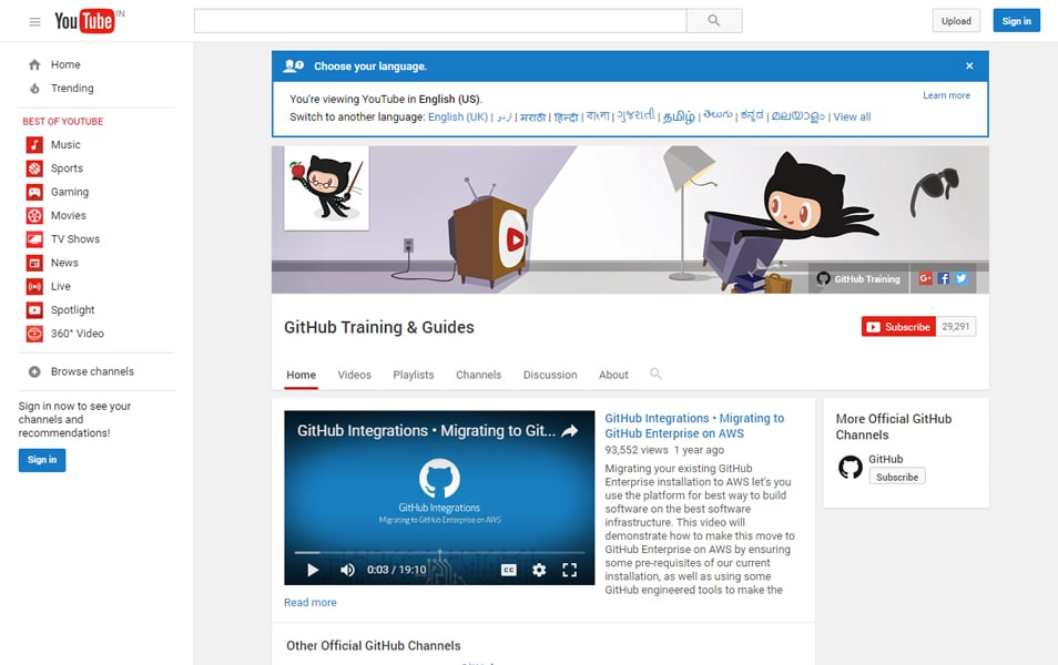 YouTube GitHub Guides Channel