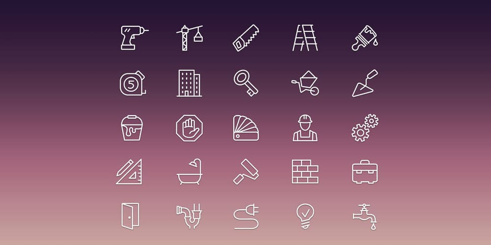 Construction Icons PSD