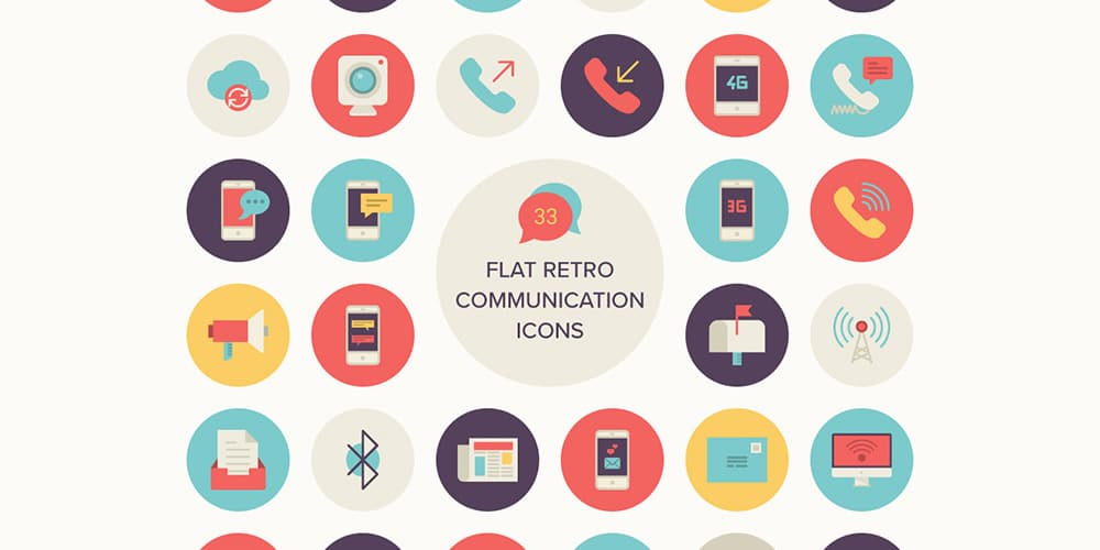 Flat Retro Communications Icons