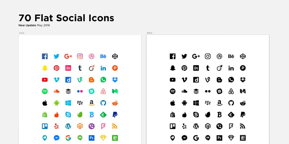 Flat Social Icons for Sketch