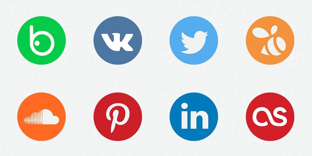 تخت آیکن رسانه های اجتماعی PSD