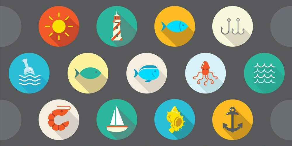 Flat-Vector-Sea-Icons