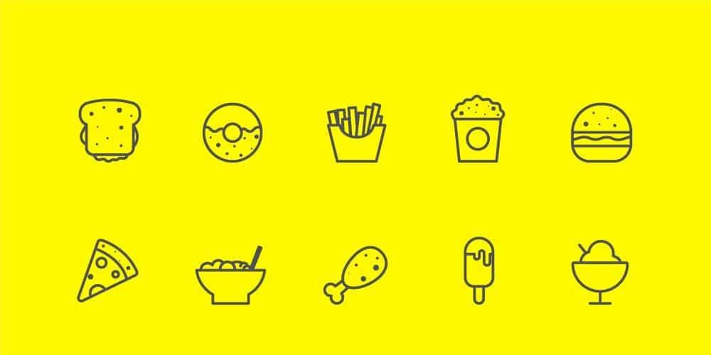 Food,-Vegetables-And-Music-Line-Icons