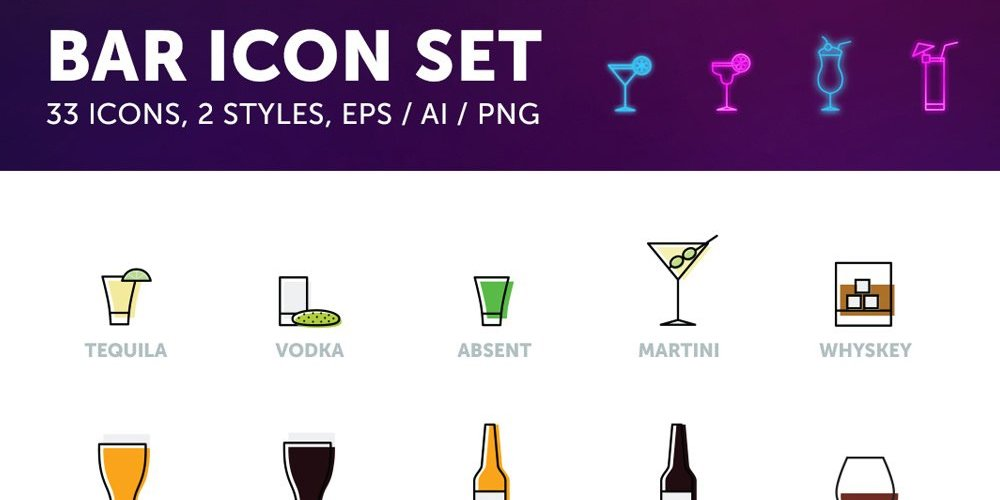 Free Bar Drinks Icons