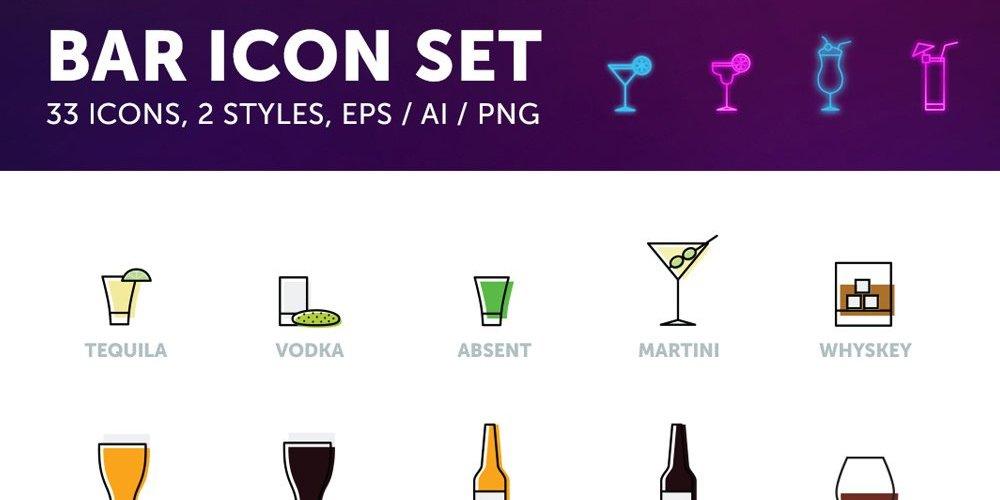 Free Bar Drinks Icons