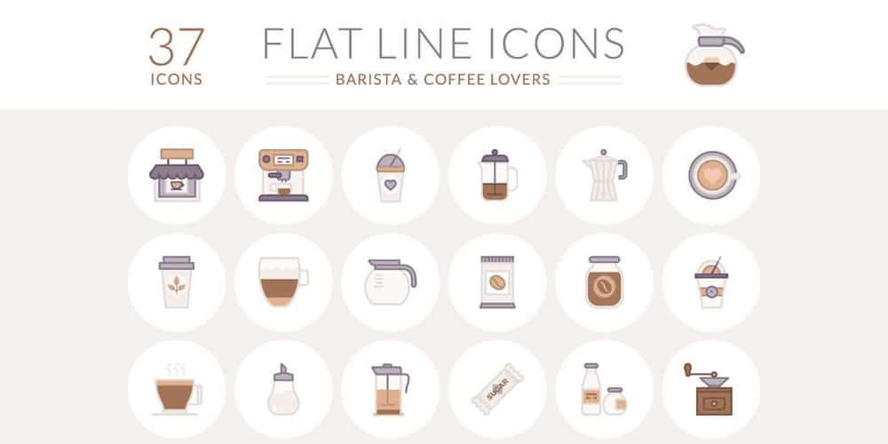 Free Barista and Coffee Lover Flat Line Icons