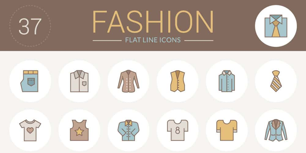 Free Flat Line Fashion Icons