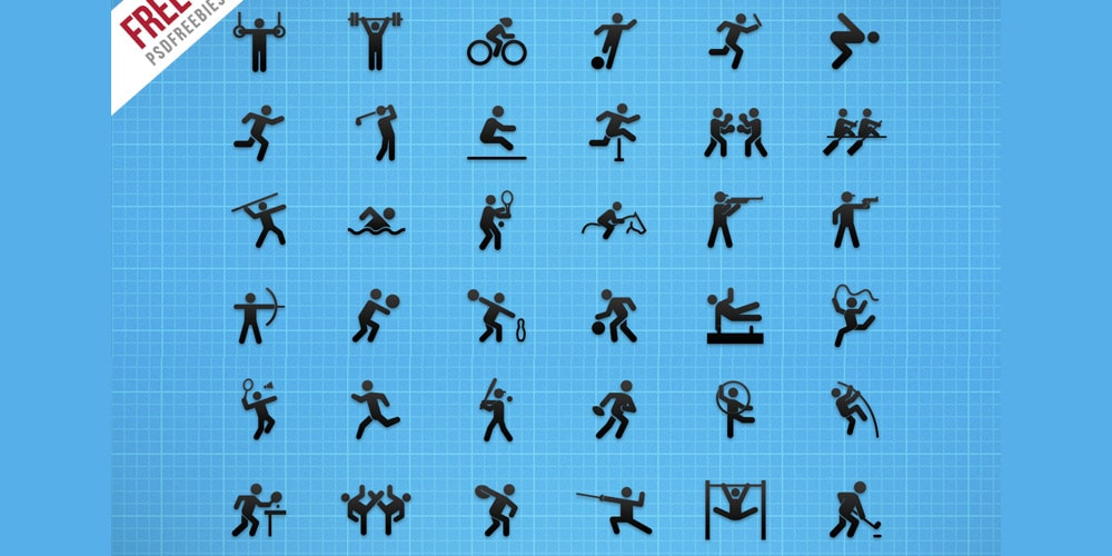 Free Flat Sports Icons PSD