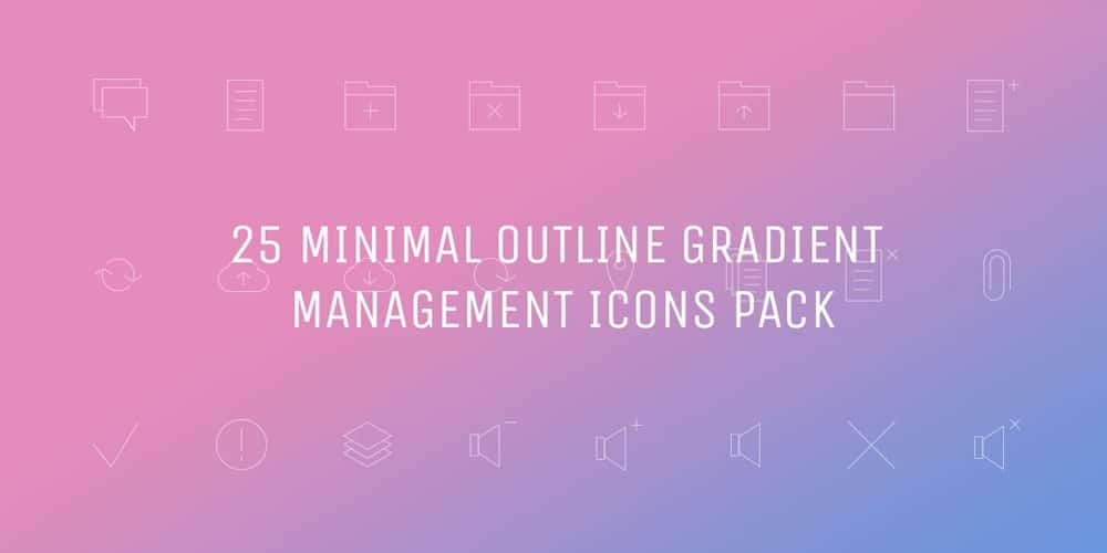 Free Minimal Gradient Outline Management Icons