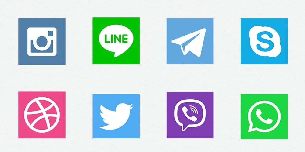 Square Social Media Icons PSD
