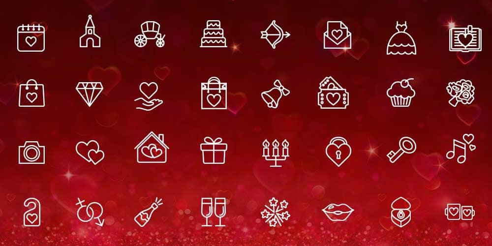 Valentine Day Line Icons PSD