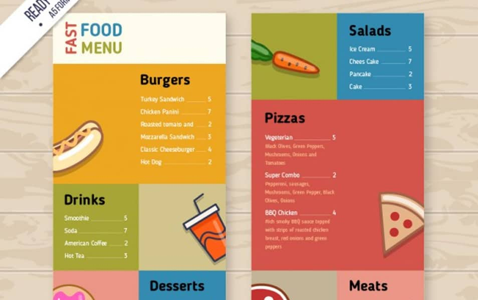 Colored fast food menu