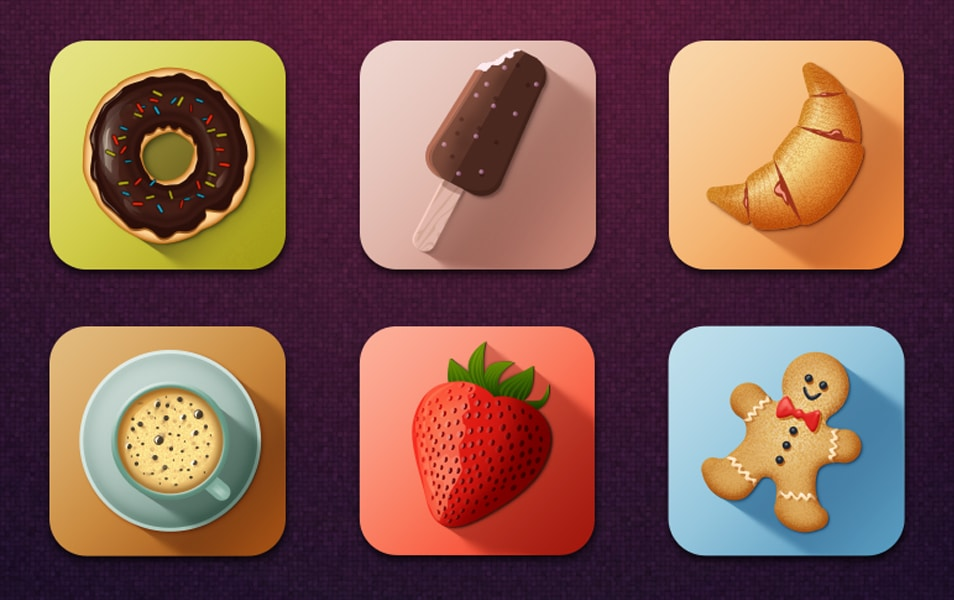Colorful Long Shadow Tasty Food Icons PSD