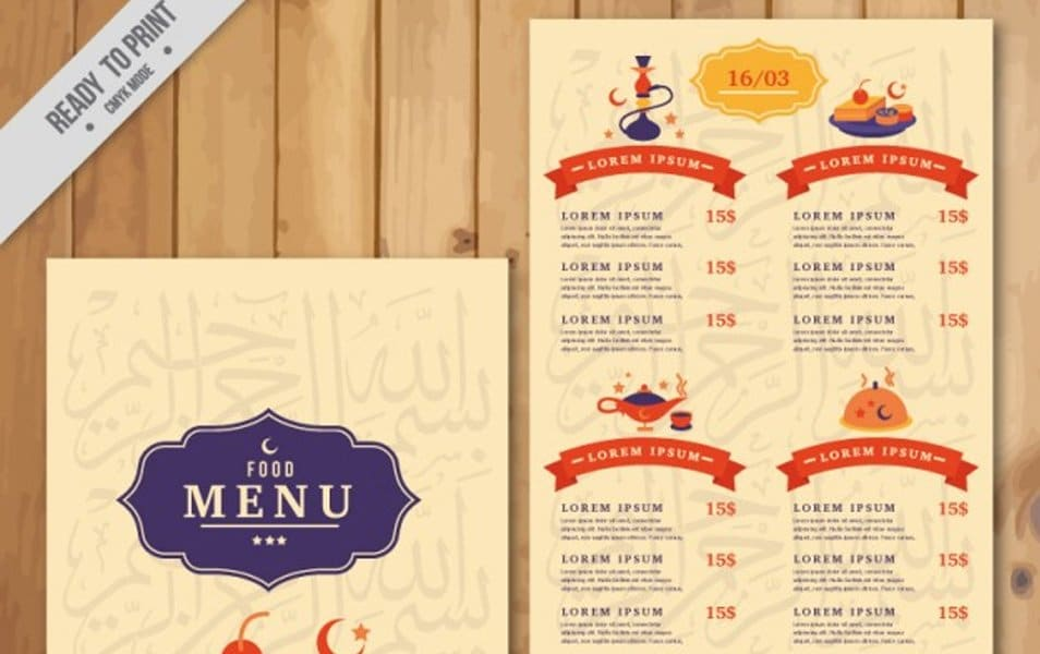 Cute arab menu template with dishes