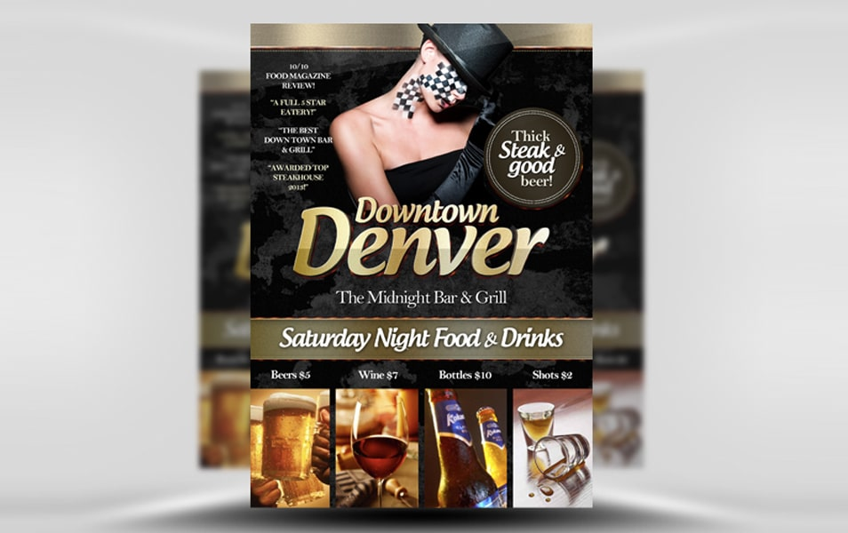 Downtown Denver Free Bar Flyer Template