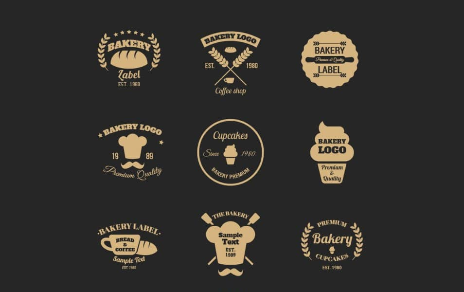 Elegant Bakery Logo Collection in Flat Style