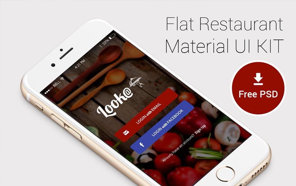 Flat Restaurant Material UI Kit PSD