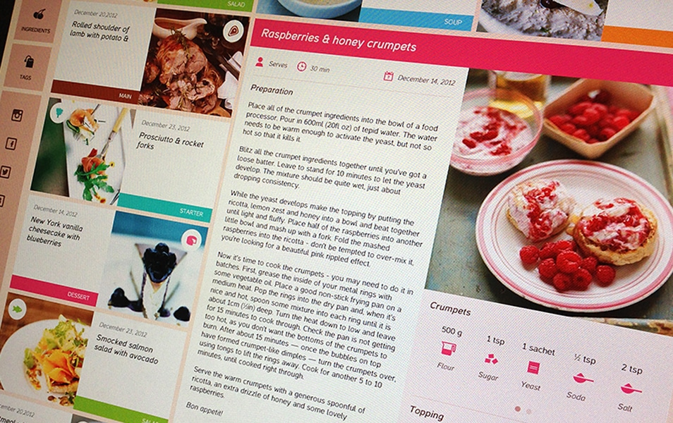 Food Blog Free Template PSD