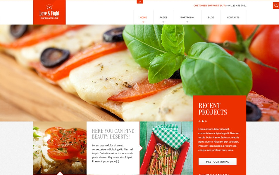 Food Blog Website Template Free PSD