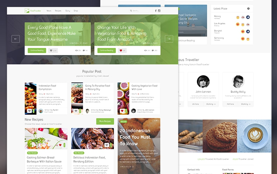 FoodTraveller Free PSD Template