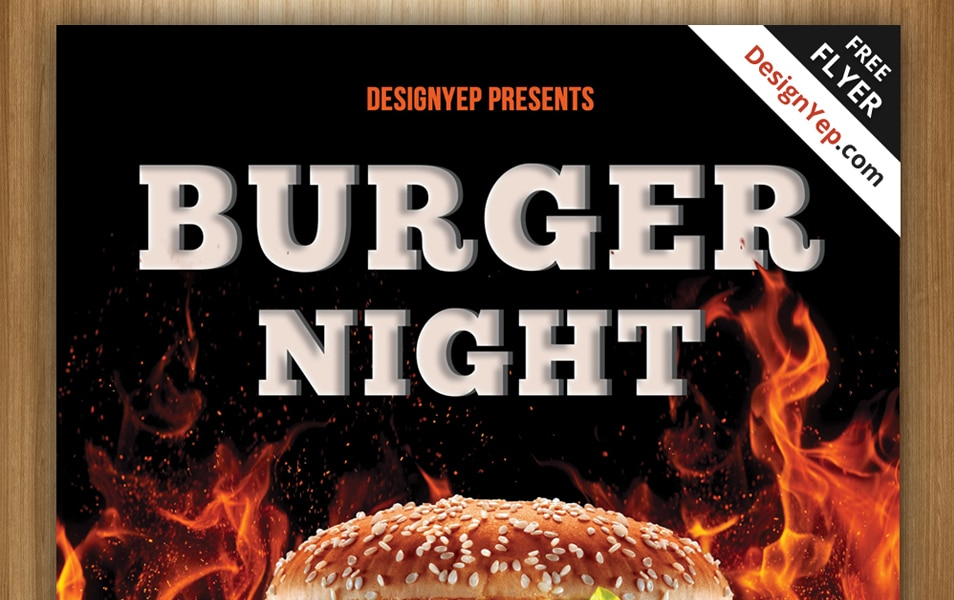 Free Burger Night Flyer PSD Template
