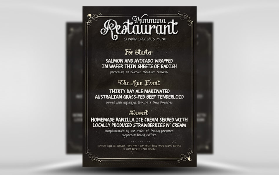 Free Chalk Board Menu PSD Flyer Template