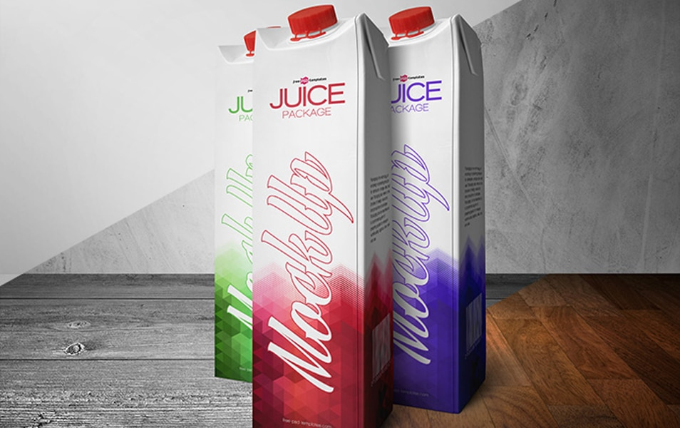 Free Juice Package Mock-up in PSD