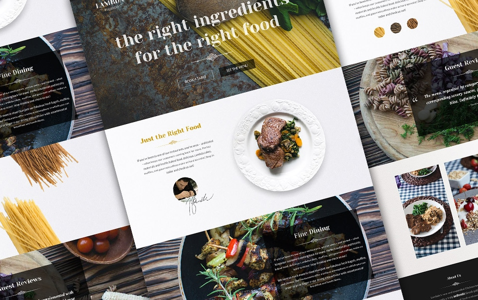 Free One Page Restaurant PSD Template