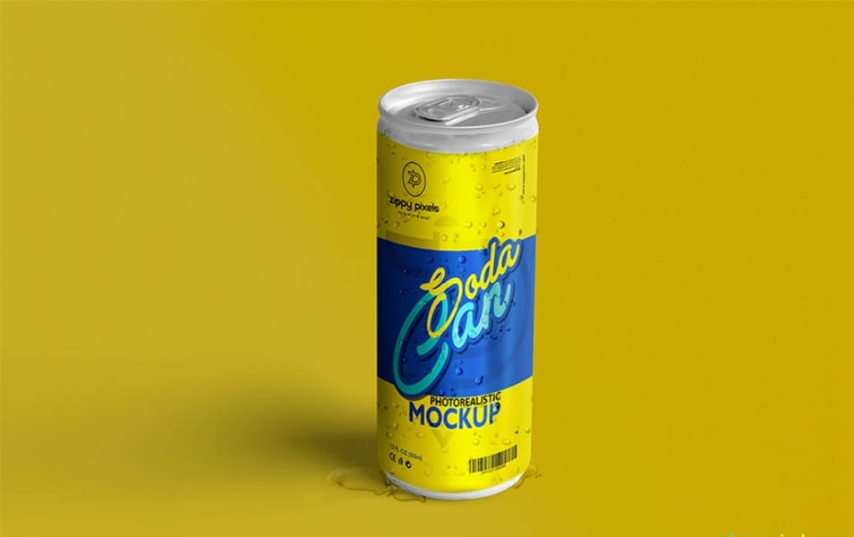 Free Refreshing Soda Can Mockup