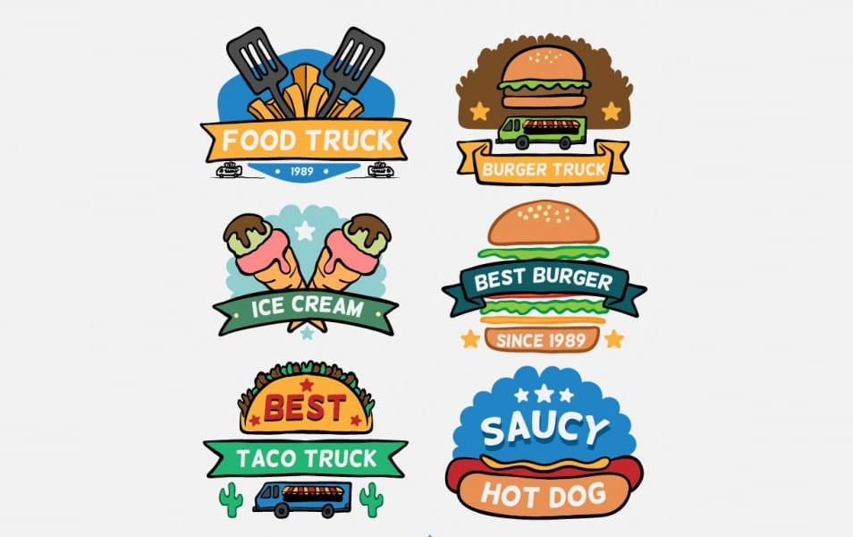 Hand drawn food truck logos