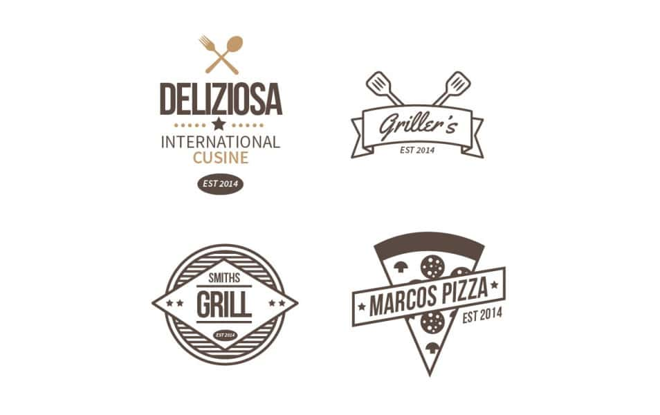 Hand drawn restaurant logos set