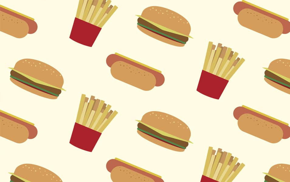 Hot dogs, hamburgers and fries pattern
