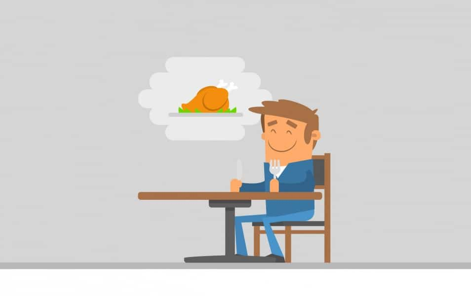 Illustration of man waiting the food