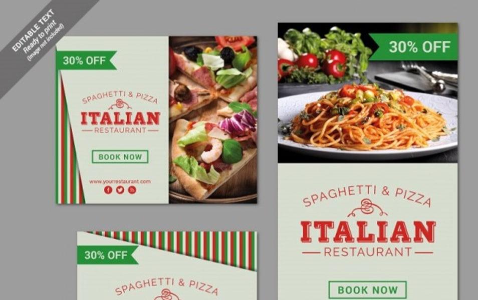 Italian restaurant banner set
