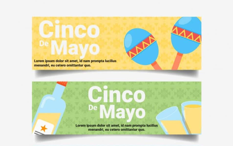 May five banners with mexican food and maraca
